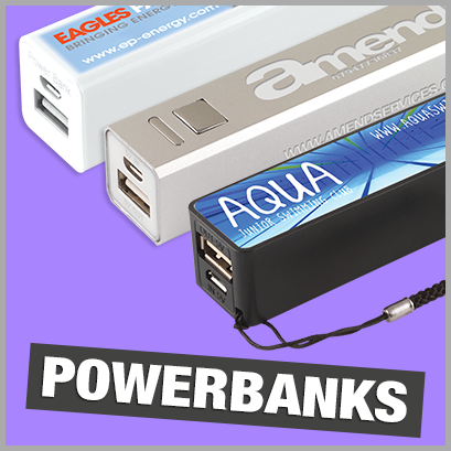 Powerbanks personalised with print